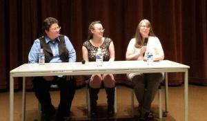 GRNW 2014 authors Lori L. Lake, Nicole Kimberling, and Lou Sylvre at The Queer Detective on April 30, 2014